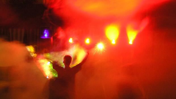 Lichtshow mit viel Kunstnebel